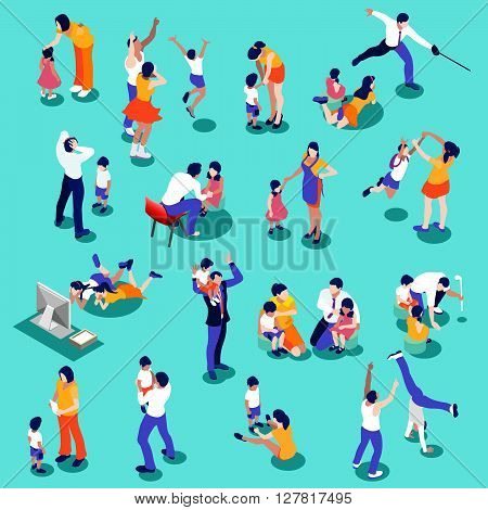 Family isometric people set. 3D flat realistic children and parents. Interacting people isolated vector illustration