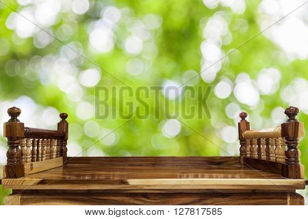 Timber Wood table isolated on nature green background