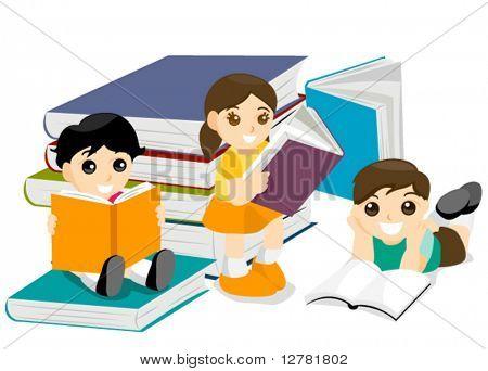 Kinder lesen Bücher - Vektor
