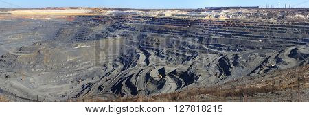 panorama huge quarry iron ore mining Gubkin Russian