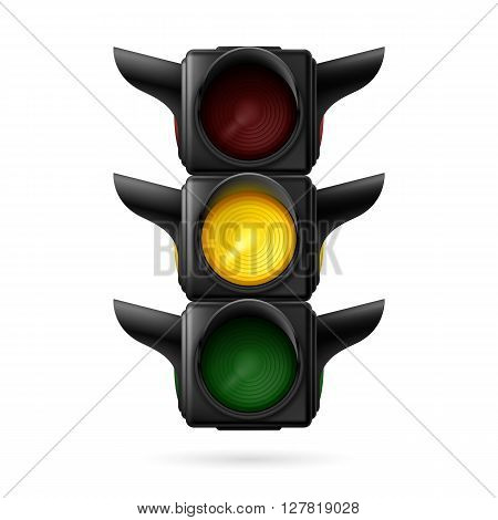 Realistic traffic lights with yellow on. Wait signal. Illustration on white