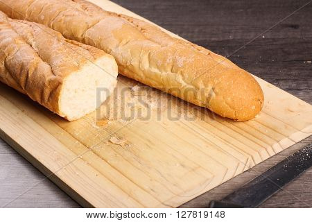 Loaf Bread Cut With Knife