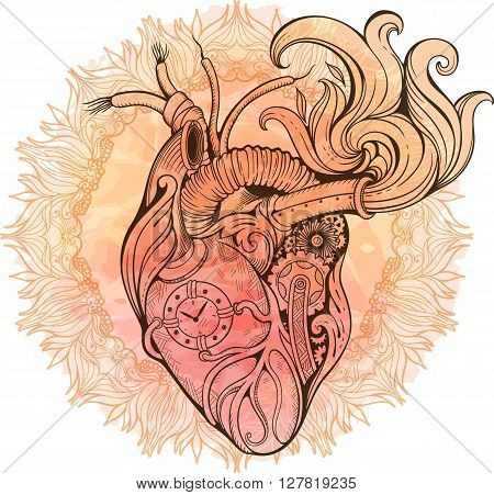 Image of heart in steampunk style. Watercolor background with flowers.