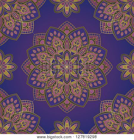 Vector seamless pattern with stylized floral mandalas. Ornament on a blue background. Oriental template for design textiles wallpaper carpet curtain pillowcase linens.