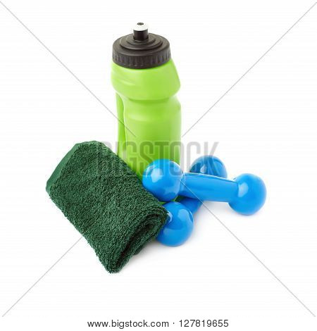 Pair of Blue Plastic coated dumbells, green water bottle and  towel isolated over the white background