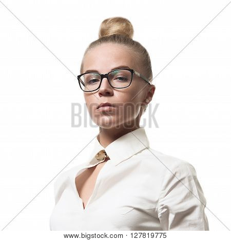Strict Beautiful Woman In Glasses