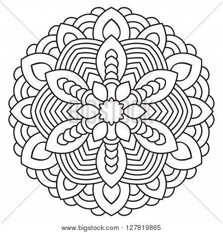 Symmetrical circular pattern mandala. Oriental pattern. Coloring page for adults. Turkish, Islamic, Oriental ornament