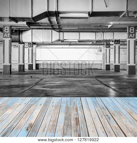 Wood floor with Parking garage interior industrial building parking background