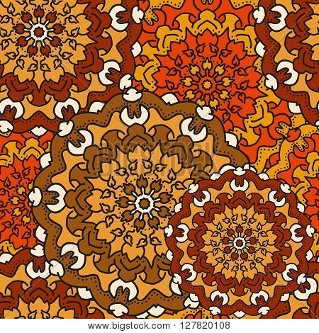Seamless background of circular patterns colored mandalas.