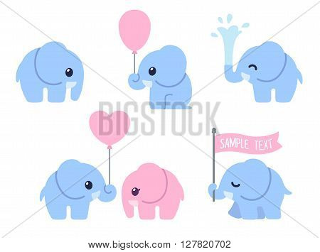 Cute cartoon baby elephant set. Adorable little elephants greeting cards design elements.