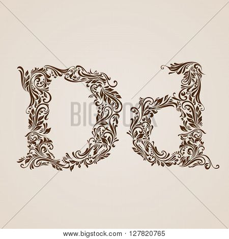 Handsomely decorated letter d in upper and lower case.