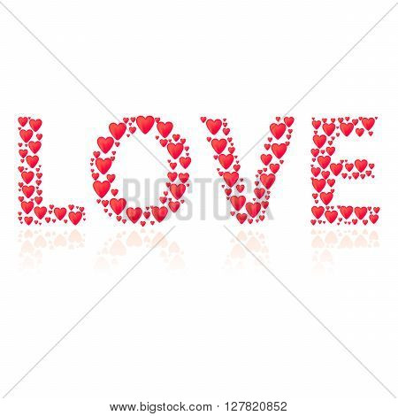 Romantic background with title Love. Title shape is filled by red hearts. Diffrent size of hearts. Reflection under title.
