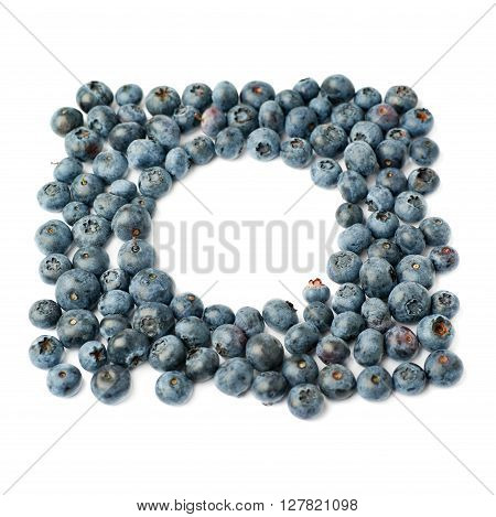 Round frame made of Ripe bilberry or blueberry over isolated white background