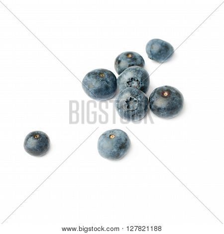 Pile of Ripe bilberry or blueberry over isolated white background