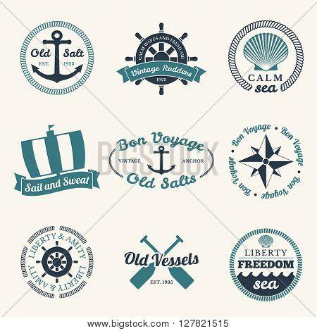 Nautical labels set - 9 diferent designs vector illustration