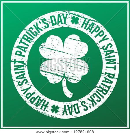 Saint Patrick's day design - four leaf clover stamp vector illustration