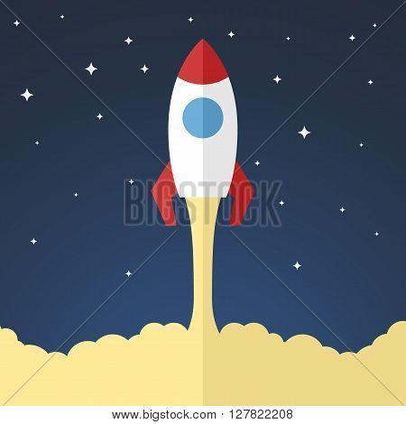 Space rocket launch. Flat design vector illustration