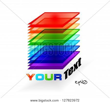 Multicolor abstract logo rectangle. Vector illustration EPS10