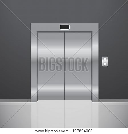 Closed metal elevator. Realistic vector illustration. Elevator in office. Chrome elevator