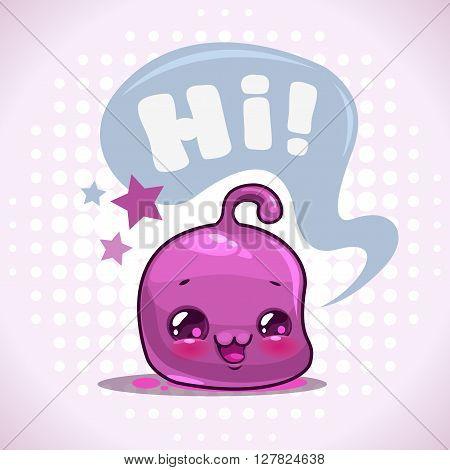 Funny cartoon little purple kawaii character with speech bubble, vector illustration, childish print for kids t shirt design