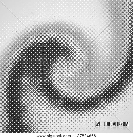 abstract white grey and black blurred curve decorative background with halftone geometric element spiral stream swirl dots and vortex