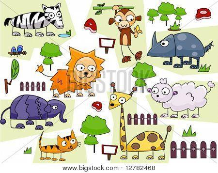 Zoo Animal Doodles - Vector