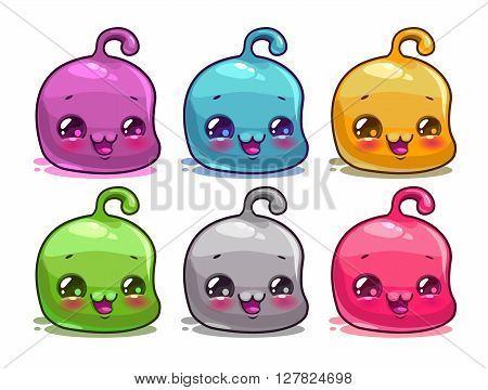 Cute cartoon colorful kawaii characters set, vector funny jelly aliens,  isolated on white