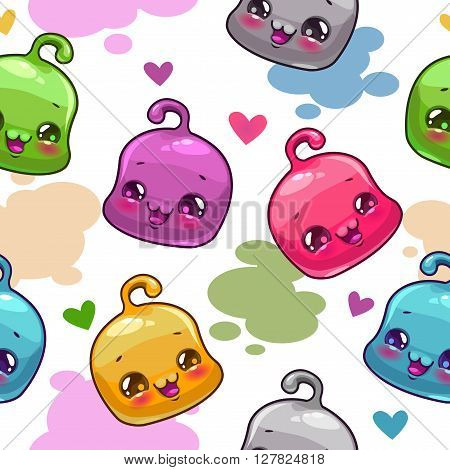 Funny childish seamless pattern with little jelly characters, vector background