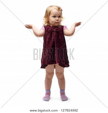 Young little girl with curly hair and arms in air in purple dress standing over isolated white background