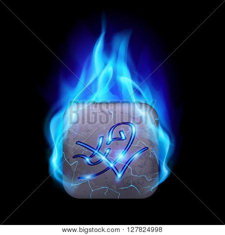 Mythic rectangular stone with magic rune burning in blue flame