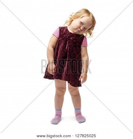 Young little disappointed girl with curly hair in purple dress standing over isolated white background