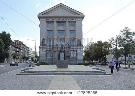 BRATISLAVA SLOVAKIA - JULY 10: Slovak National Museum in Bratislava on JULY 10 2015. Slovak National Museum Historic Building in Bratislava Slovakia.