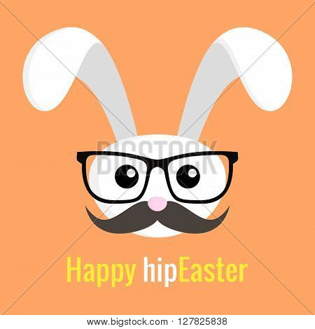 Easter hipster Rabbit icon with glasses and mustache