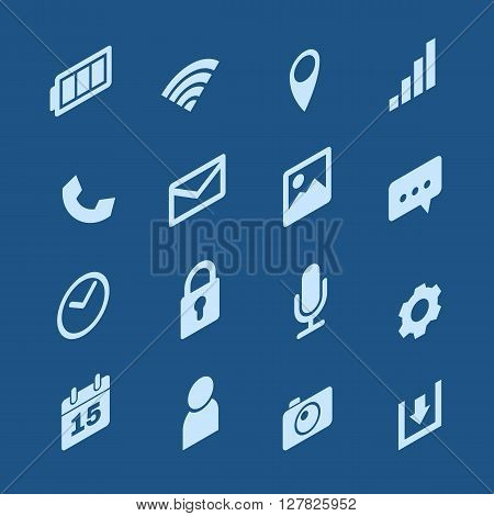 Isometric Mobile phone icons set on blue background