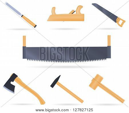 Set of traditional tools of the carpenter, with wooden handle, vector illustration isolated on white
