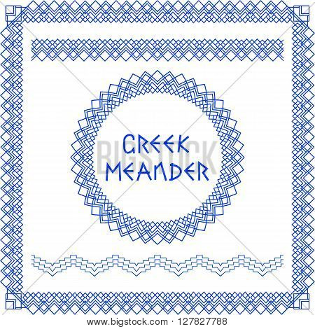 Set of brushes to create the Greek Meander patterns and samples of their application for round and square frames.Greek traditional borders. In blue color isolated on white background. Brushes included in the file.Vector illustration
