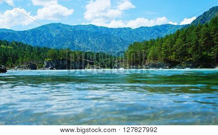 view from below water surface Katun river Altai Mountains summer sunny day, Russia