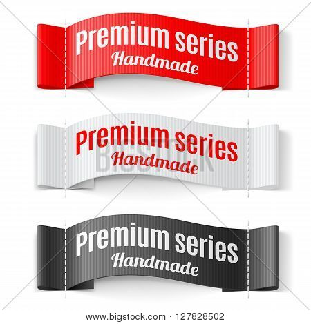 Set of Labels Premium series hand made red white black