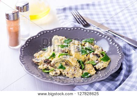 Spinach Mushroom Frittata On The Wooden Table