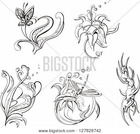 Floral Designs And Stylized Hearts