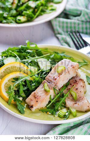 Steamed Catfish Filet With Arugula Salad