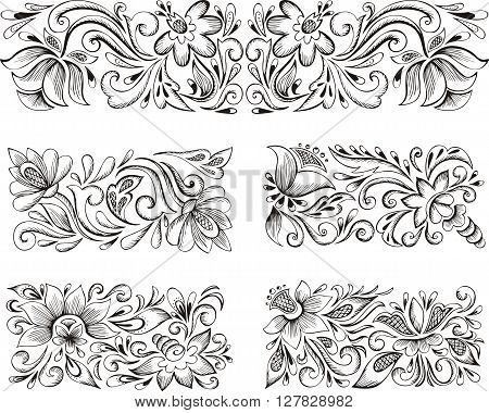 Symmetric Horizontal Floral Patterns