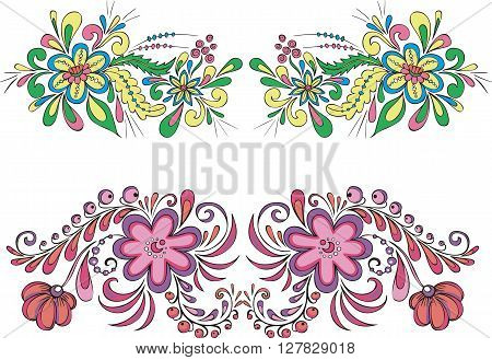Two Symmetric Floral Patterns