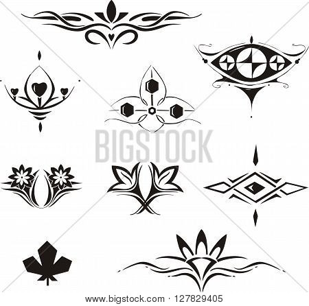 Symmetrical Floral Decorative Elements