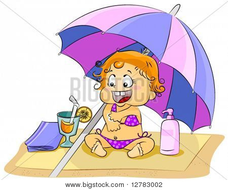 Kid putting Sunblock - Vector