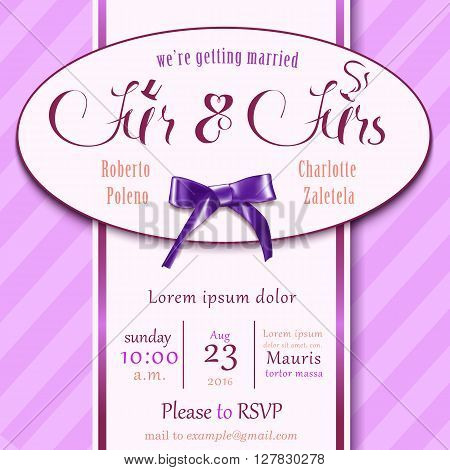 Wedding Invitation Card for wedding Couples with rsvp mr mrs words template and bow on pink background.