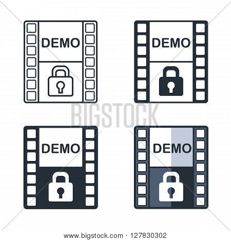 Demo flat icon set. Trial version sign. Trailer symbol vector illustration.