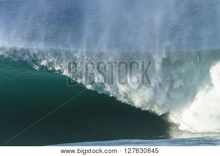 Wave hollow crashing ocean blue water power