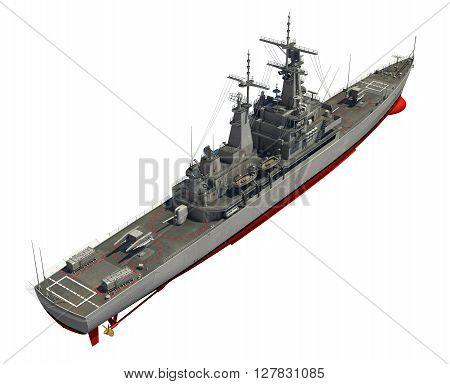 Modern Warship Over White Background. 3D Illustration.