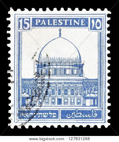 PALESTINE - CIRCA 1927 : Postage stamp printed by Palestine, that shows Dome of the rock.
